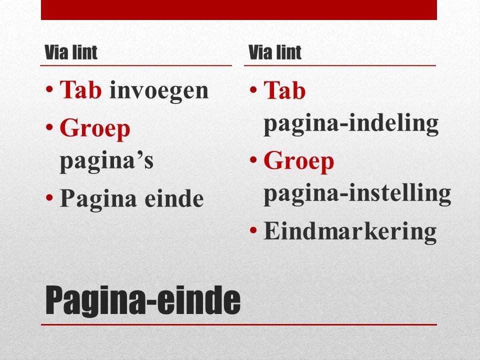 Pagina-einde Via lint Tab invoegen Groep pagina's Pagina einde Via lint Tab pagina-indeling Groep pagina-instelling Eindmarkering