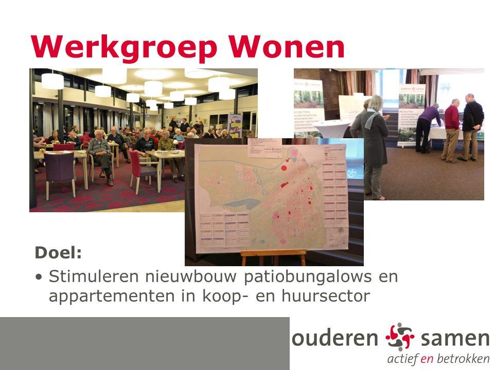 Werkgroep Wonen Doel: Stimuleren nieuwbouw patiobungalows en appartementen in koop- en huursector