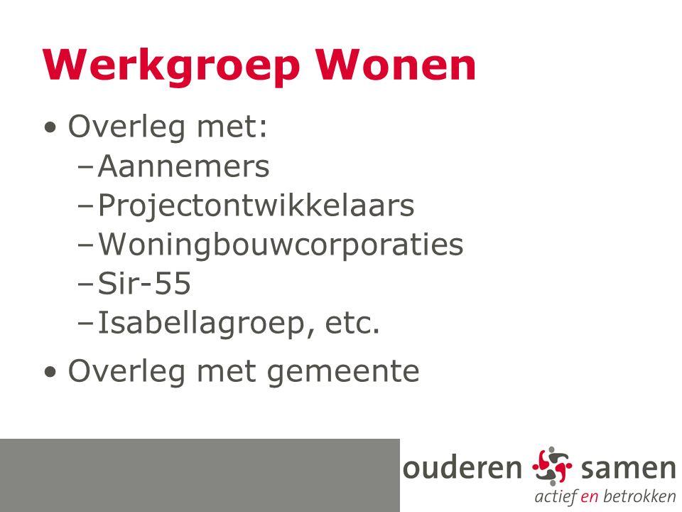 Werkgroep Wonen Overleg met: –Aannemers –Projectontwikkelaars –Woningbouwcorporaties –Sir-55 –Isabellagroep, etc.