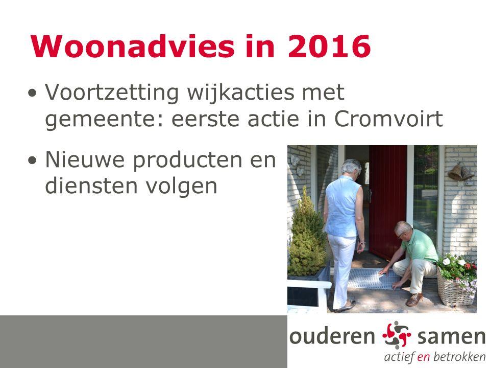 Woonadvies in 2016 Voortzetting wijkacties met gemeente: eerste actie in Cromvoirt Nieuwe producten en diensten volgen