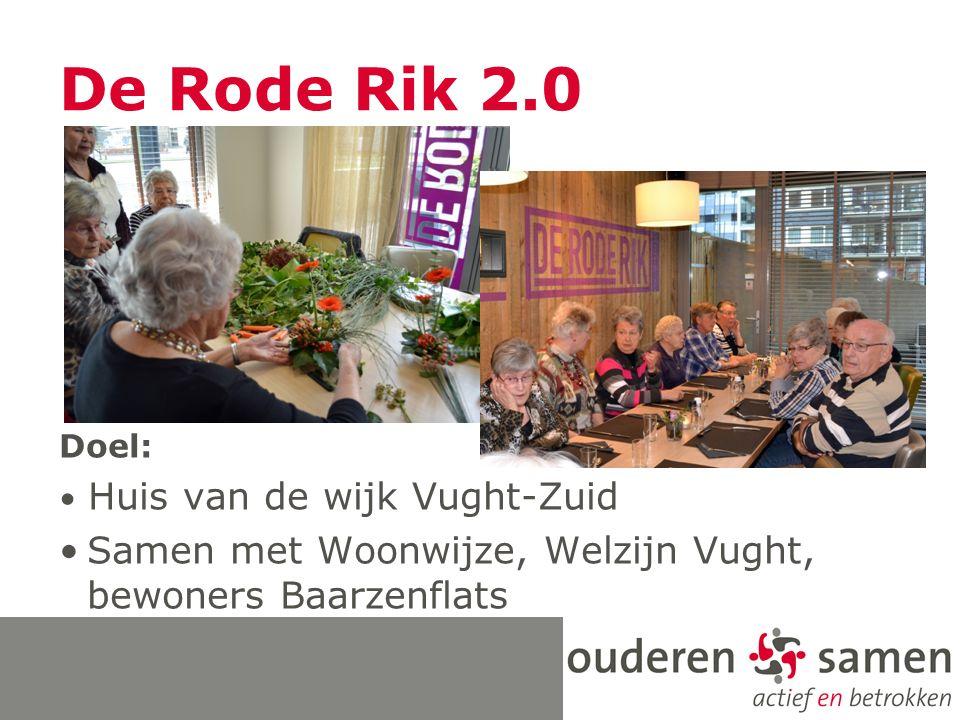 De Rode Rik 2.0 Doel: Huis van de wijk Vught-Zuid Samen met Woonwijze, Welzijn Vught, bewoners Baarzenflats