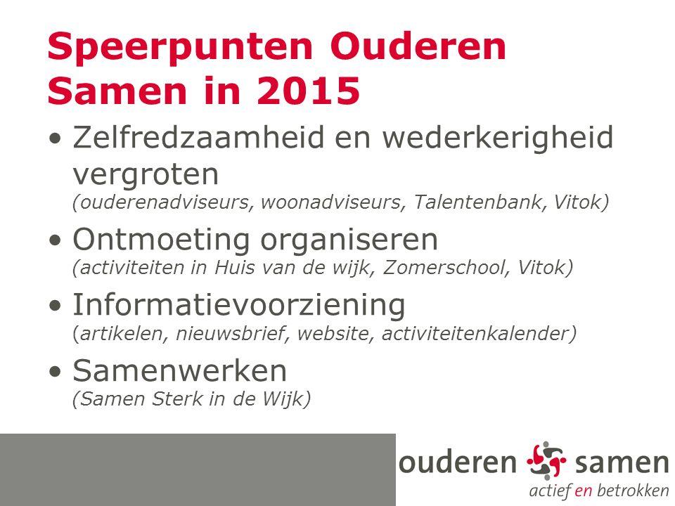 Speerpunten Ouderen Samen in 2015 Zelfredzaamheid en wederkerigheid vergroten (ouderenadviseurs, woonadviseurs, Talentenbank, Vitok) Ontmoeting organi