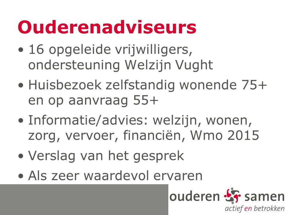 Ouderenadviseurs 16 opgeleide vrijwilligers, ondersteuning Welzijn Vught Huisbezoek zelfstandig wonende 75+ en op aanvraag 55+ Informatie/advies: welzijn, wonen, zorg, vervoer, financiën, Wmo 2015 Verslag van het gesprek Als zeer waardevol ervaren