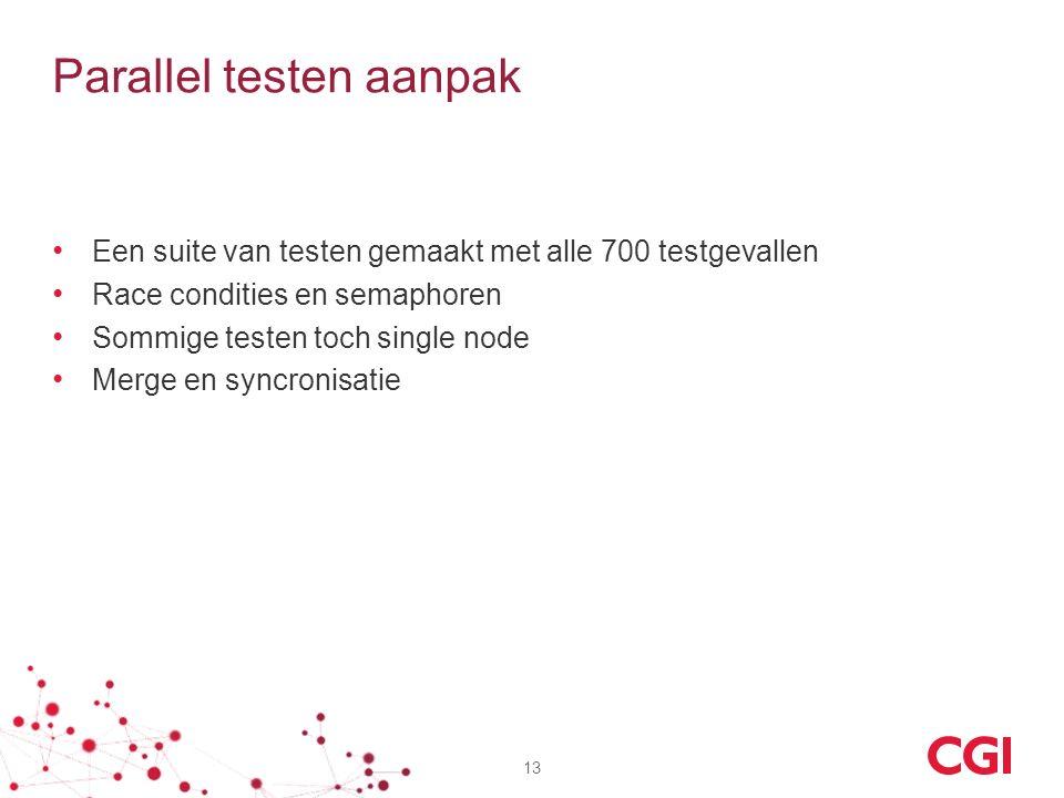 Parallel testen aanpak Een suite van testen gemaakt met alle 700 testgevallen Race condities en semaphoren Sommige testen toch single node Merge en sy