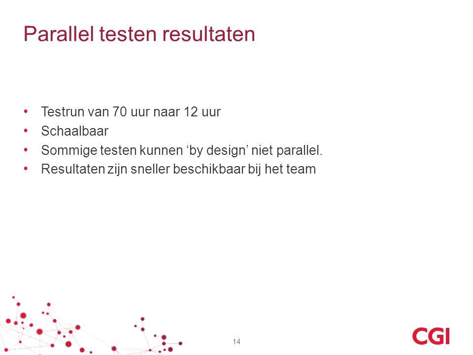 Parallel testen resultaten Testrun van 70 uur naar 12 uur Schaalbaar Sommige testen kunnen 'by design' niet parallel. Resultaten zijn sneller beschikb