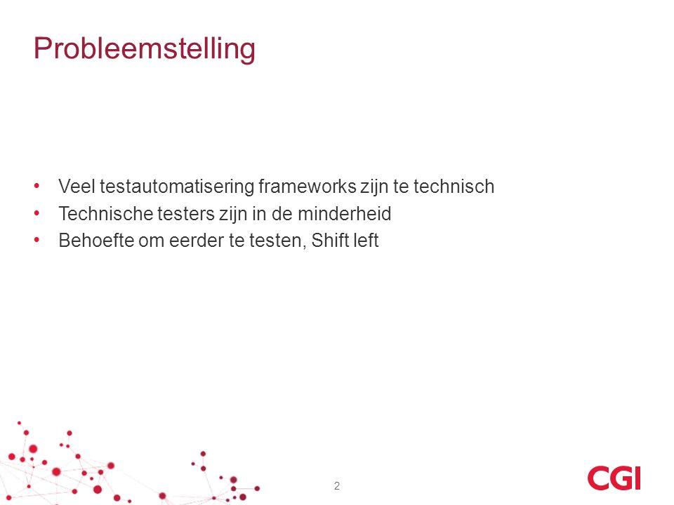 Probleemstelling Veel testautomatisering frameworks zijn te technisch Technische testers zijn in de minderheid Behoefte om eerder te testen, Shift lef
