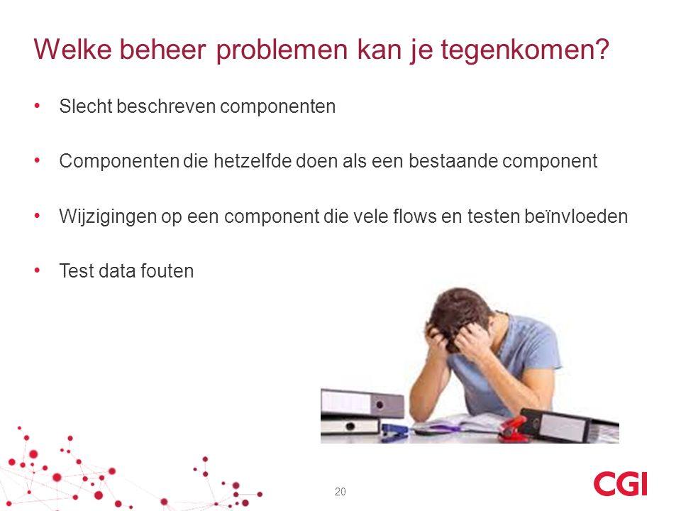 Welke beheer problemen kan je tegenkomen? Slecht beschreven componenten Componenten die hetzelfde doen als een bestaande component Wijzigingen op een