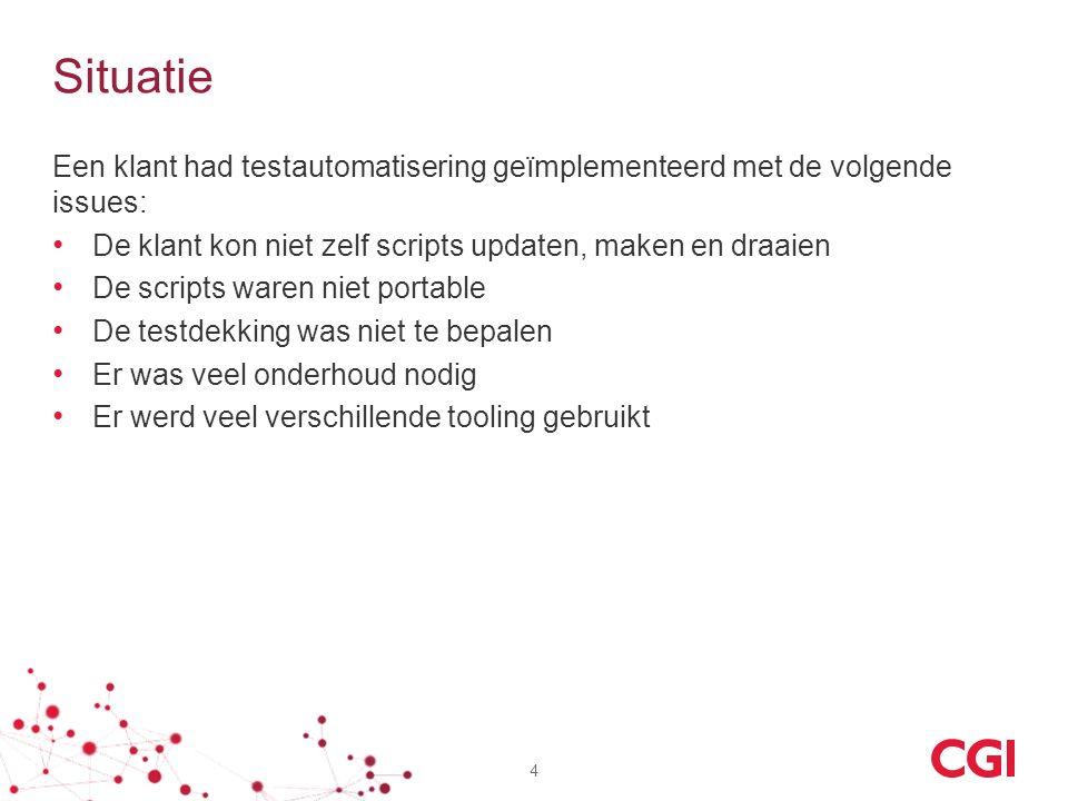Situatie Een klant had testautomatisering geïmplementeerd met de volgende issues: De klant kon niet zelf scripts updaten, maken en draaien De scripts