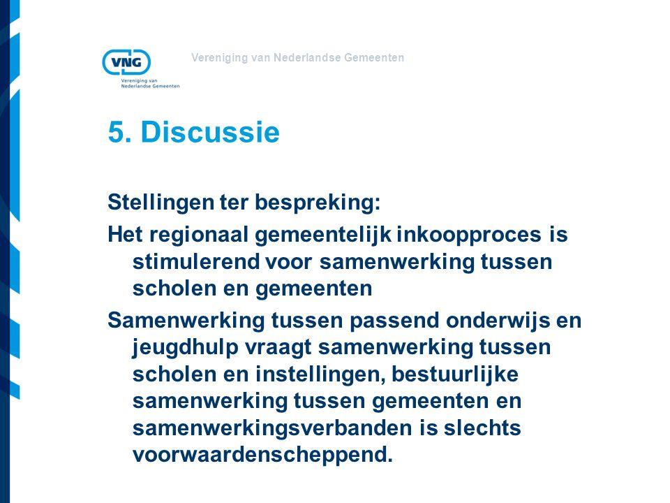 Vereniging van Nederlandse Gemeenten 5. Discussie Stellingen ter bespreking: Het regionaal gemeentelijk inkoopproces is stimulerend voor samenwerking