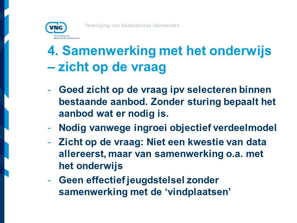 Vereniging van Nederlandse Gemeenten 4. Samenwerking met het onderwijs – zicht op de vraag -Goed zicht op de vraag ipv selecteren binnen bestaande aan