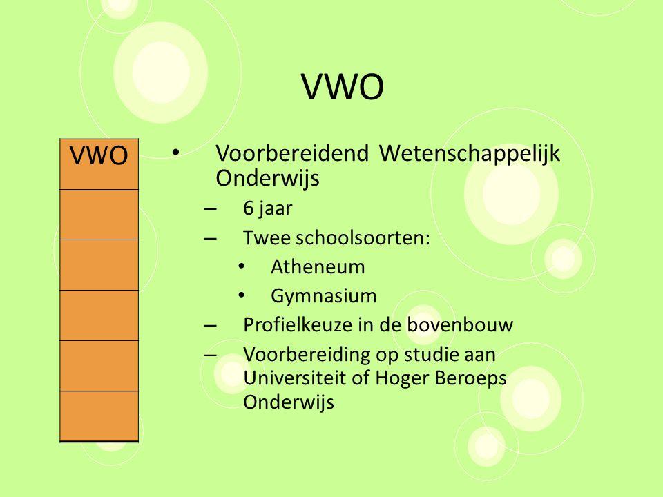 VWO Voorbereidend Wetenschappelijk Onderwijs – 6 jaar – Twee schoolsoorten: Atheneum Gymnasium – Profielkeuze in de bovenbouw – Voorbereiding op studi