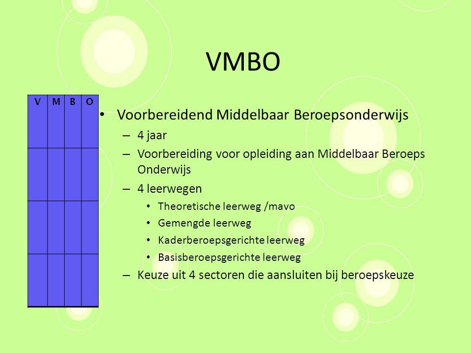 VMBO Voorbereidend Middelbaar Beroepsonderwijs – 4 jaar – Voorbereiding voor opleiding aan Middelbaar Beroeps Onderwijs – 4 leerwegen Theoretische lee