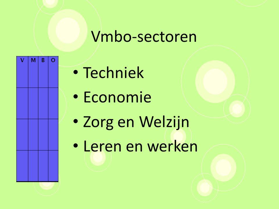 Vmbo-sectoren Techniek Economie Zorg en Welzijn Leren en werken VMBO
