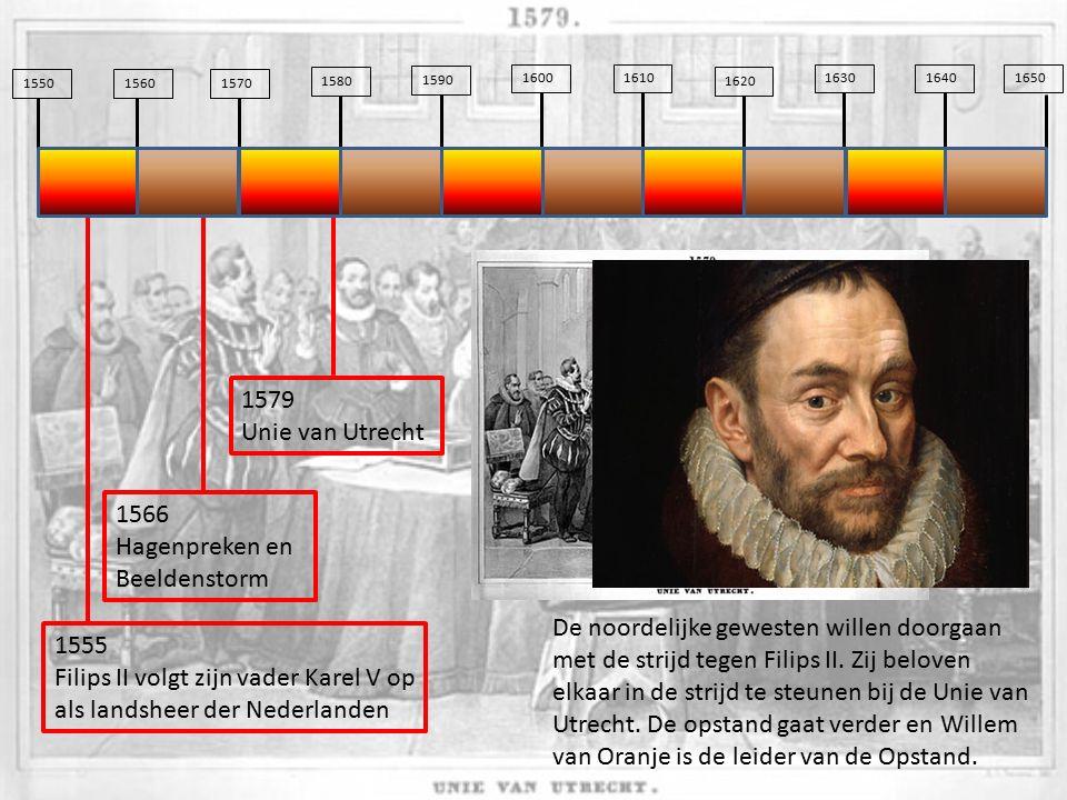 155015601570 1580 1590 16001610 1620 163016401650 1555 Filips II volgt zijn vader Karel V op als landsheer der Nederlanden De noordelijke gewesten wil