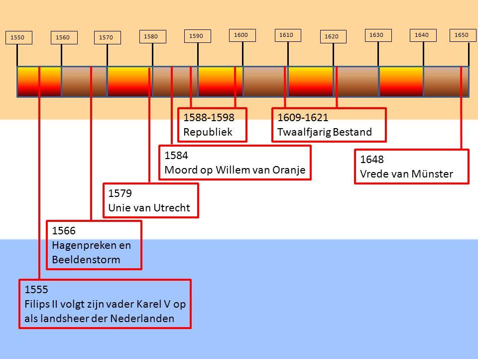 1584 Moord op Willem van Oranje 155015601570 1580 1590 16001610 1620 163016401650 1555 Filips II volgt zijn vader Karel V op als landsheer der Nederla