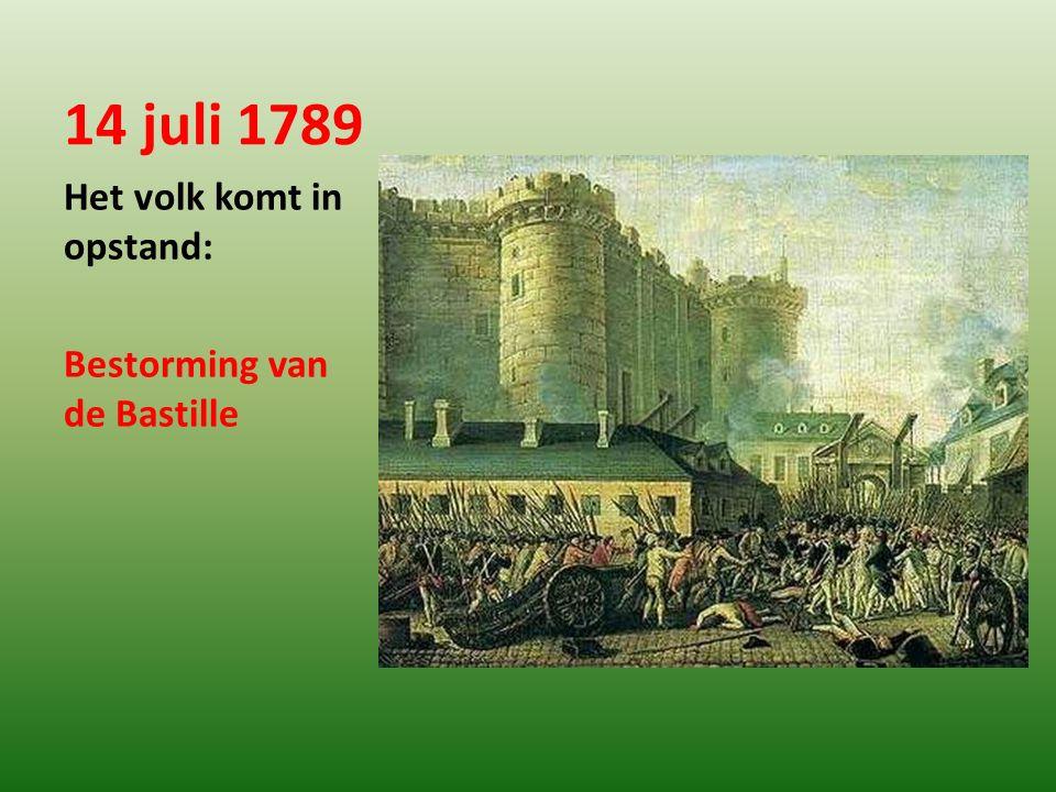 14 juli 1789 Het volk komt in opstand: Bestorming van de Bastille