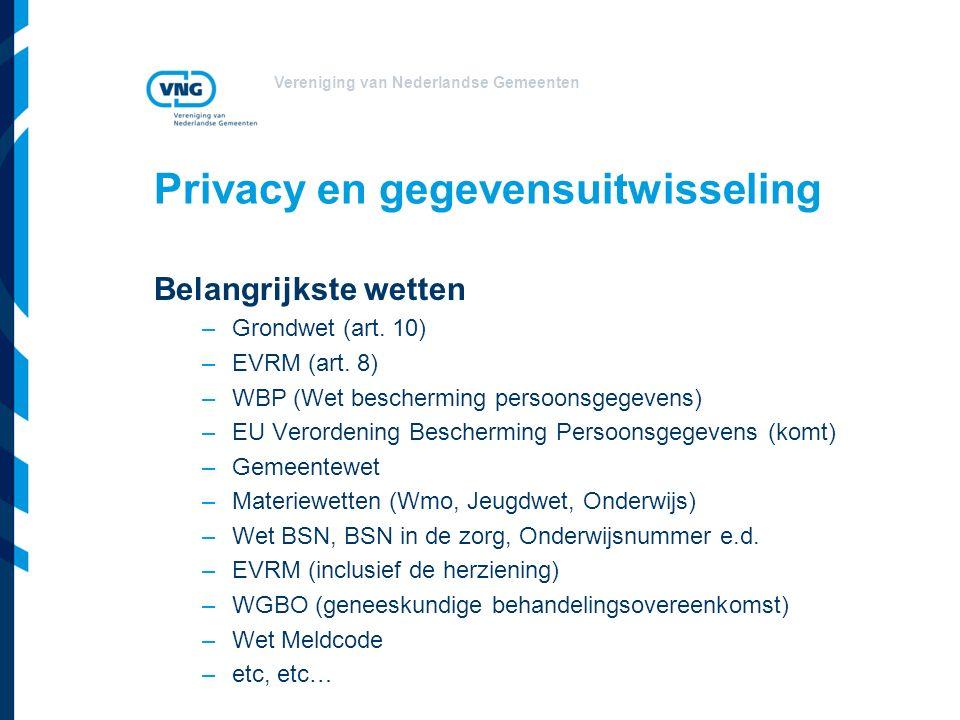 Vereniging van Nederlandse Gemeenten Privacy en gegevensuitwisseling Belangrijkste wetten –Grondwet (art.