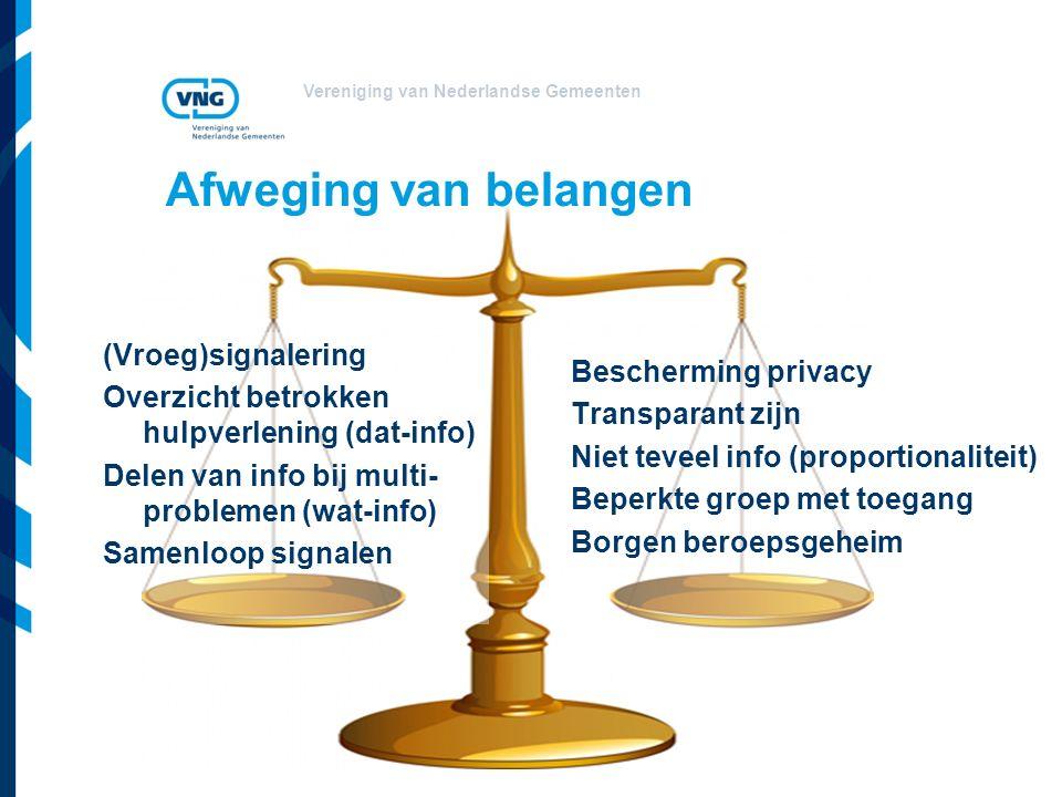 Vereniging van Nederlandse Gemeenten Afweging van belangen (Vroeg)signalering Overzicht betrokken hulpverlening (dat-info) Delen van info bij multi- problemen (wat-info) Samenloop signalen Bescherming privacy Transparant zijn Niet teveel info (proportionaliteit) Beperkte groep met toegang Borgen beroepsgeheim