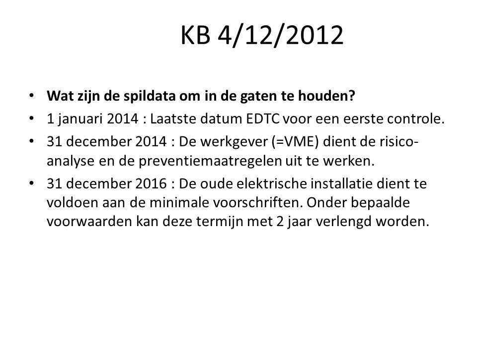 KB 4/12/2012 Wat zijn de spildata om in de gaten te houden? 1 januari 2014 : Laatste datum EDTC voor een eerste controle. 31 december 2014 : De werkge