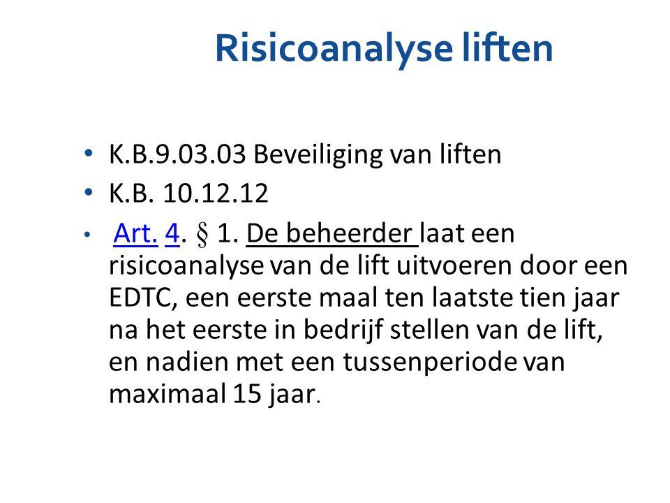 Risicoanalyse liften K.B.9.03.03 Beveiliging van liften K.B. 10.12.12 Art. 4. § 1. De beheerder laat een risicoanalyse van de lift uitvoeren door een