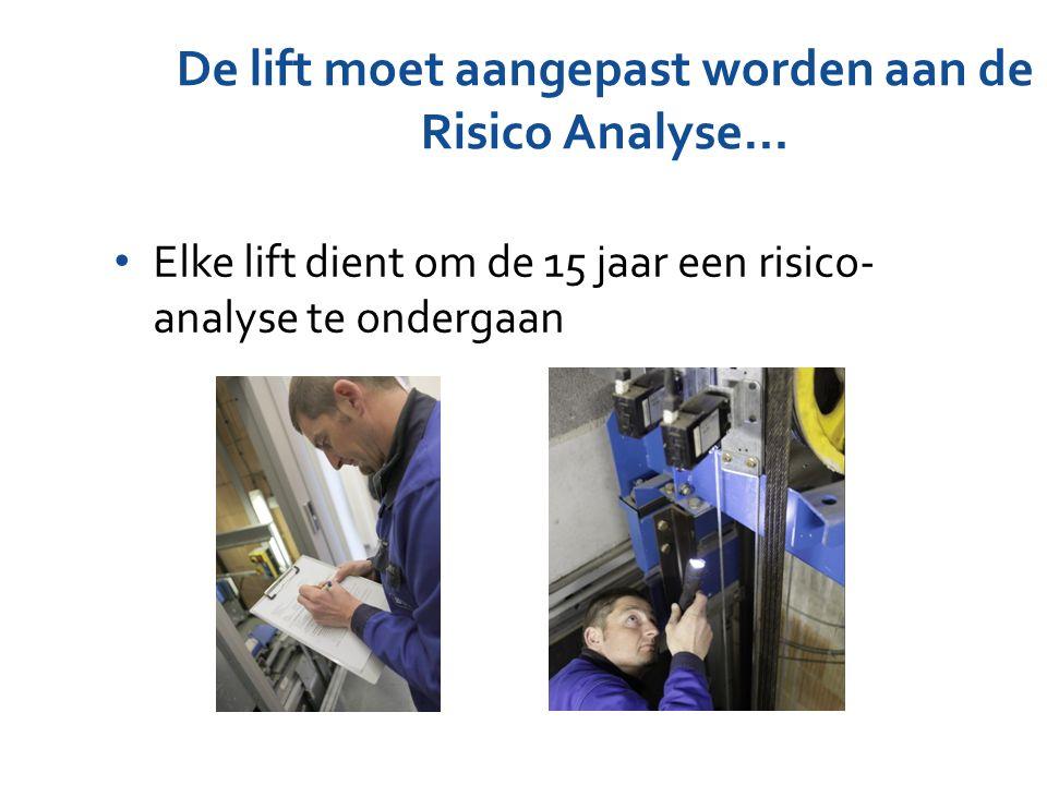 De lift moet aangepast worden aan de Risico Analyse… Elke lift dient om de 15 jaar een risico- analyse te ondergaan