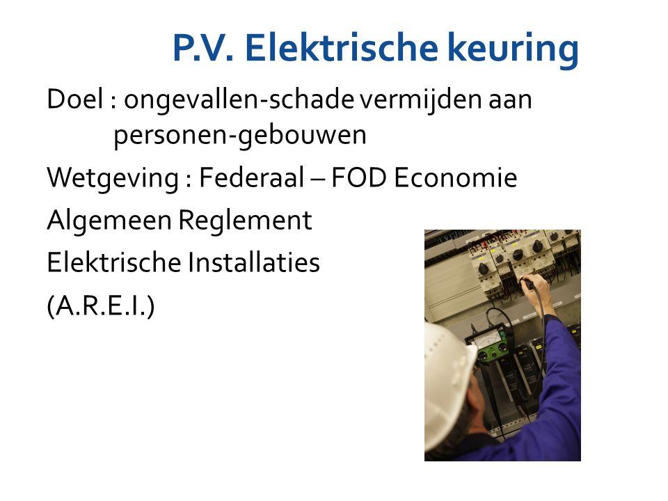 P.V. Elektrische keuring Doel : ongevallen-schade vermijden aan personen-gebouwen Wetgeving : Federaal – FOD Economie Algemeen Reglement Elektrische I
