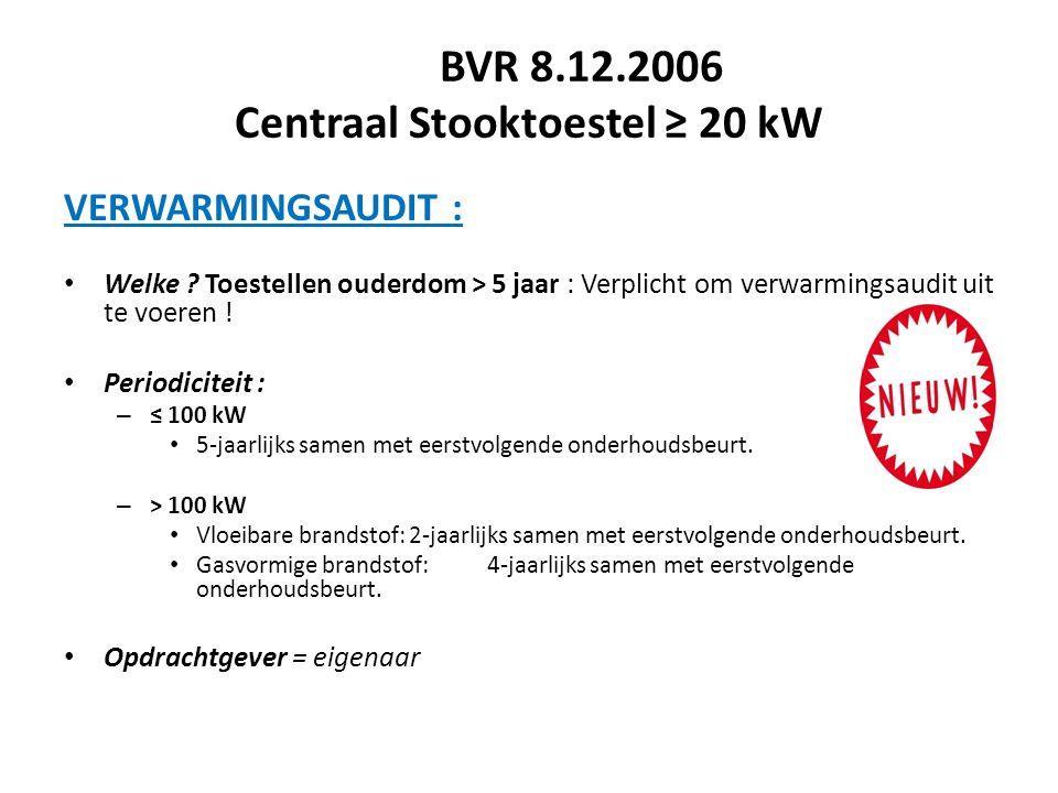 BVR 8.12.2006 Centraal Stooktoestel ≥ 20 kW VERWARMINGSAUDIT : Welke ? Toestellen ouderdom > 5 jaar : Verplicht om verwarmingsaudit uit te voeren ! Pe