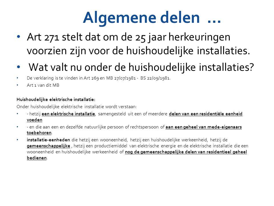 Algemene delen … Art 271 stelt dat om de 25 jaar herkeuringen voorzien zijn voor de huishoudelijke installaties. Wat valt nu onder de huishoudelijke i