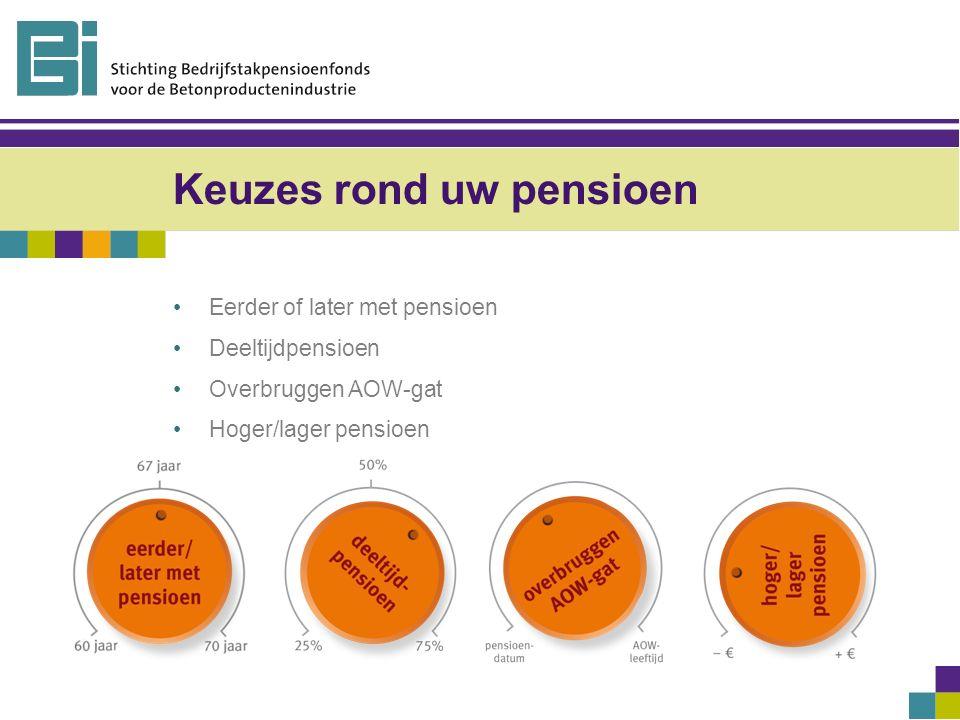 Keuzes rond uw pensioen Eerder of later met pensioen Deeltijdpensioen Overbruggen AOW-gat Hoger/lager pensioen