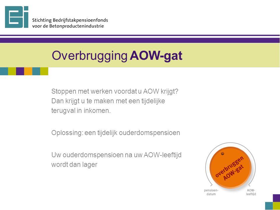 Overbrugging AOW-gat Stoppen met werken voordat u AOW krijgt.