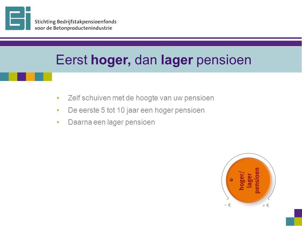 Eerst hoger, dan lager pensioen Zelf schuiven met de hoogte van uw pensioen De eerste 5 tot 10 jaar een hoger pensioen Daarna een lager pensioen