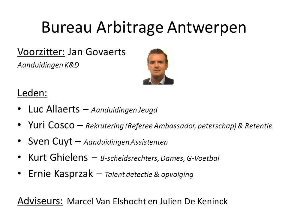Bureau Arbitrage Antwerpen Voorzitter: Jan Govaerts Aanduidingen K&D Leden: Luc Allaerts – Aanduidingen Jeugd Yuri Cosco – Rekrutering (Referee Ambass