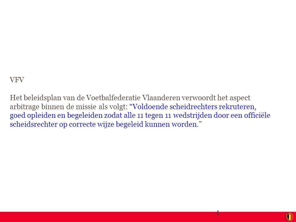 """4 VFV Het beleidsplan van de Voetbalfederatie Vlaanderen verwoordt het aspect arbitrage binnen de missie als volgt: """"Voldoende scheidrechters rekruter"""