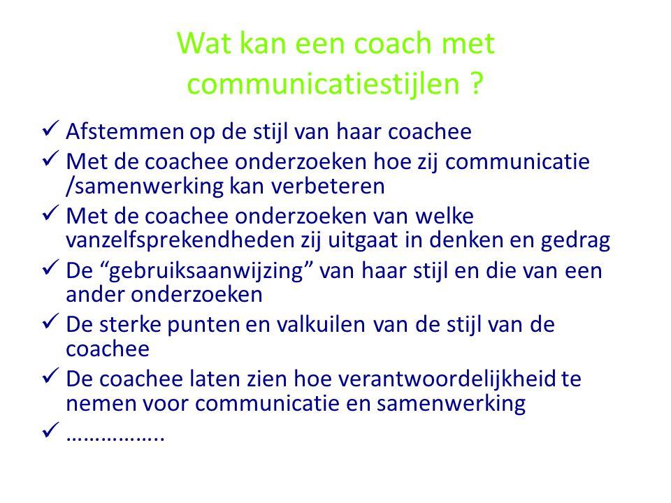 Wat kan een coach met communicatiestijlen ? Afstemmen op de stijl van haar coachee Met de coachee onderzoeken hoe zij communicatie /samenwerking kan v
