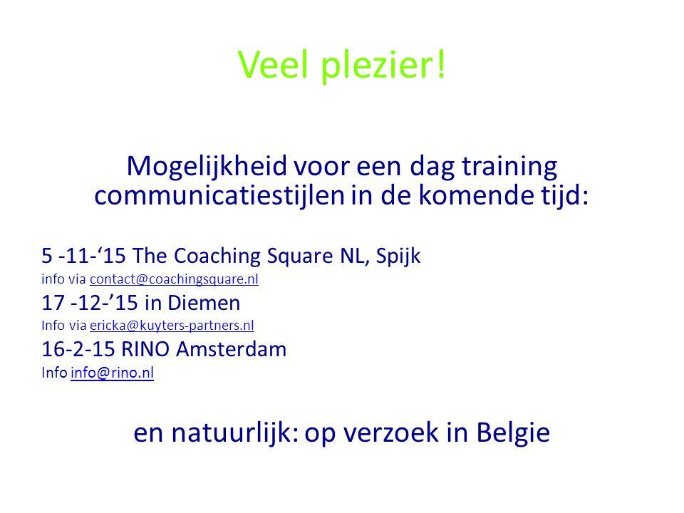 Veel plezier! Mogelijkheid voor een dag training communicatiestijlen in de komende tijd: 5 -11-'15 The Coaching Square NL, Spijk info via contact@coac