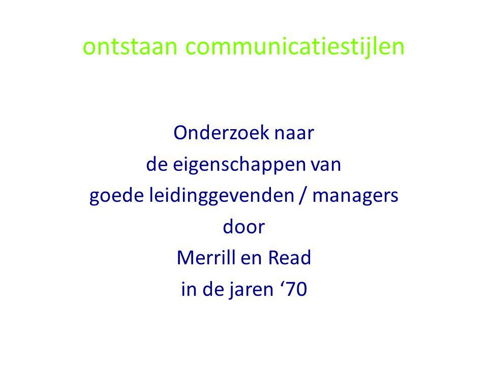 ontstaan communicatiestijlen Onderzoek naar de eigenschappen van goede leidinggevenden / managers door Merrill en Read in de jaren '70