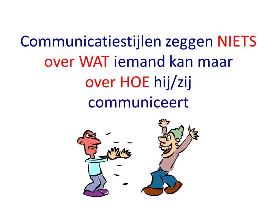 communicatiestijlen zijn een automatische voorkeur voor je manier van communiceren taalgebruik stemvolume en –melodie lichaamshouding gezichtsuitdrukking ordening van gesprek / gedachten