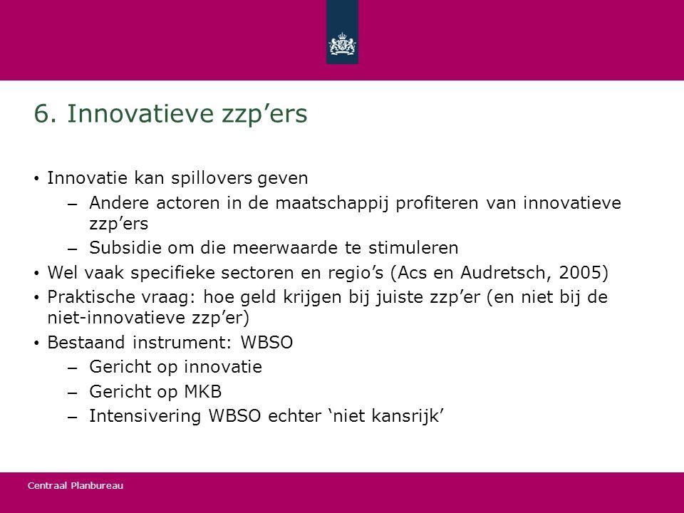 Centraal Planbureau 6. Innovatieve zzp'ers Innovatie kan spillovers geven – Andere actoren in de maatschappij profiteren van innovatieve zzp'ers – Sub