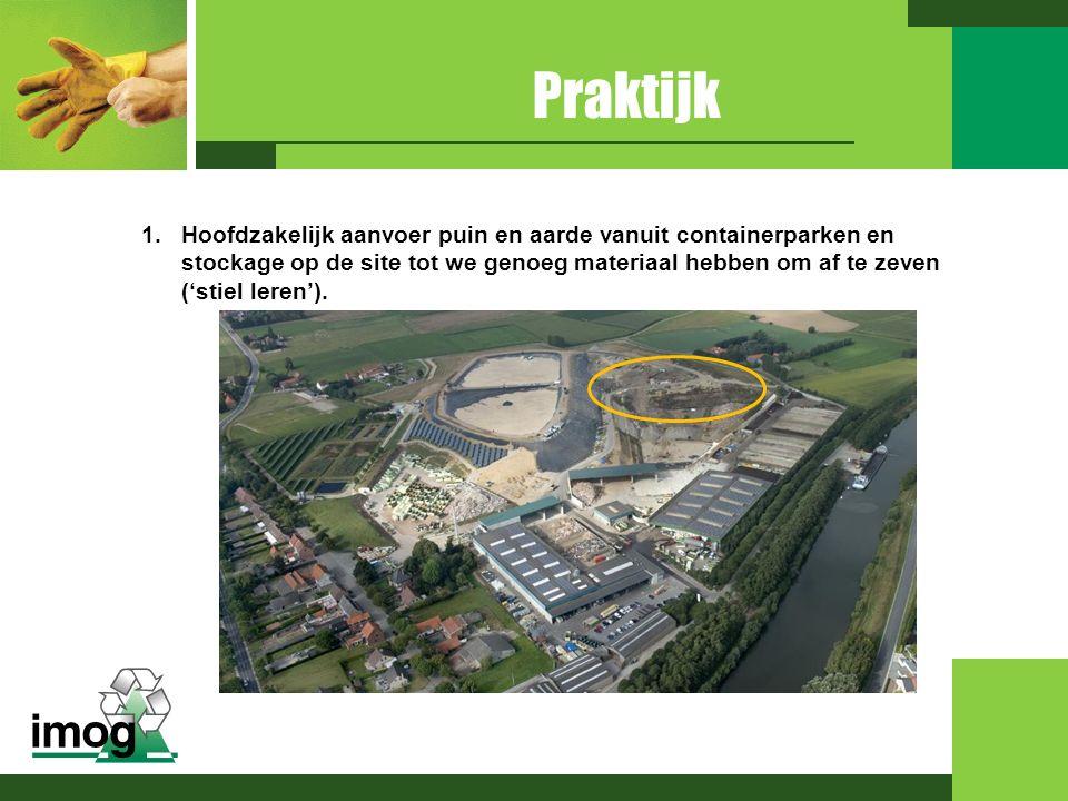1.Hoofdzakelijk aanvoer puin en aarde vanuit containerparken en stockage op de site tot we genoeg materiaal hebben om af te zeven ('stiel leren').