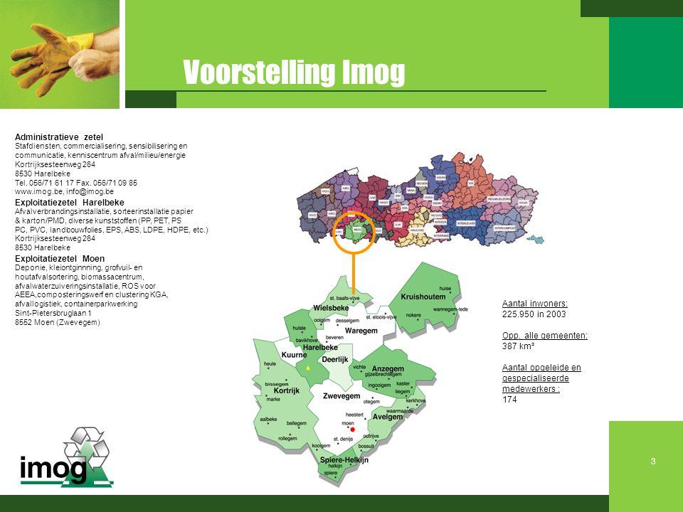 Aantal inwoners: 225.950 in 2003 Opp. alle gemeenten: 387 km² Aantal opgeleide en gespecialiseerde medewerkers : 174 Voorstelling Imog Administratieve
