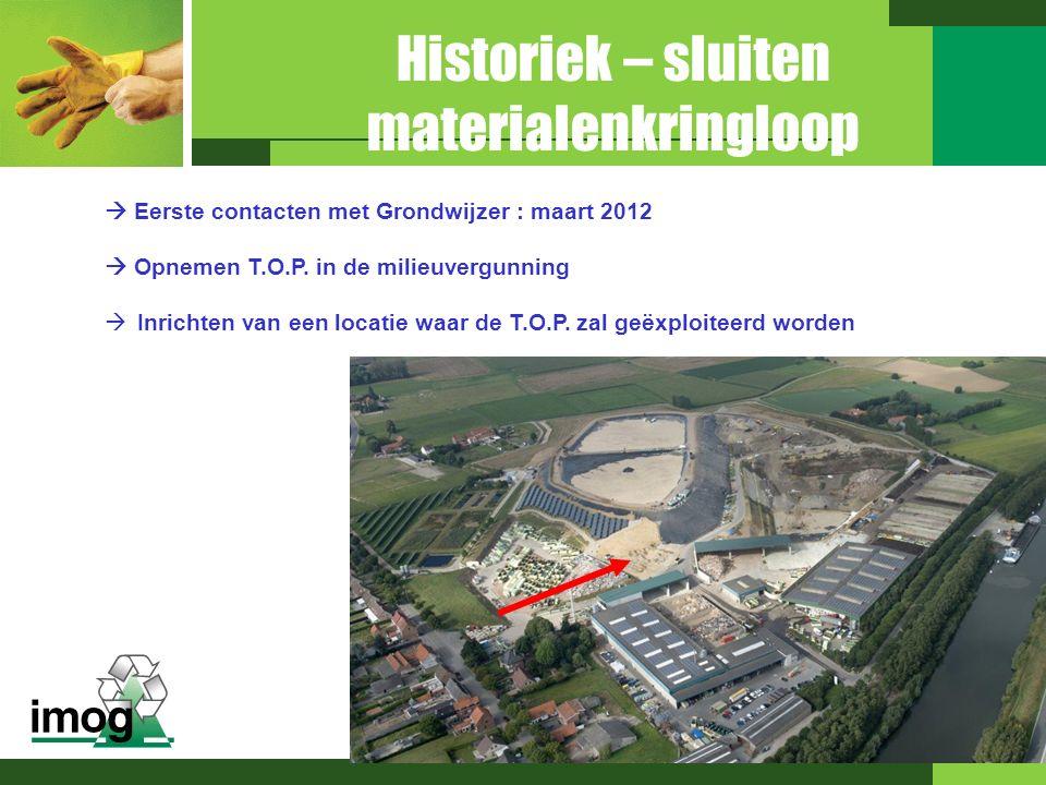 Eerste contacten met Grondwijzer : maart 2012  Opnemen T.O.P. in de milieuvergunning  Inrichten van een locatie waar de T.O.P. zal geëxploiteerd w