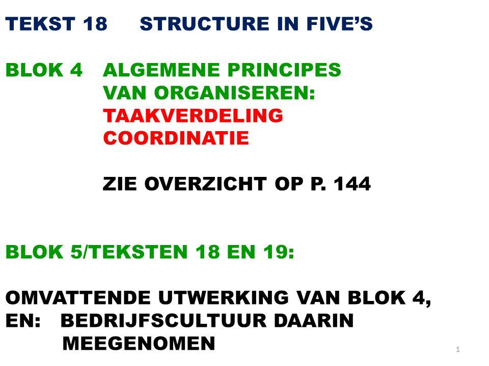 1 TEKST 18 STRUCTURE IN FIVE'S BLOK 4ALGEMENE PRINCIPES VAN ORGANISEREN: TAAKVERDELING COORDINATIE ZIE OVERZICHT OP P. 144 BLOK 5/TEKSTEN 18 EN 19: OM