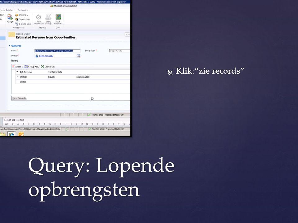 """Query: Lopende opbrengsten  Klik:""""zie records"""""""