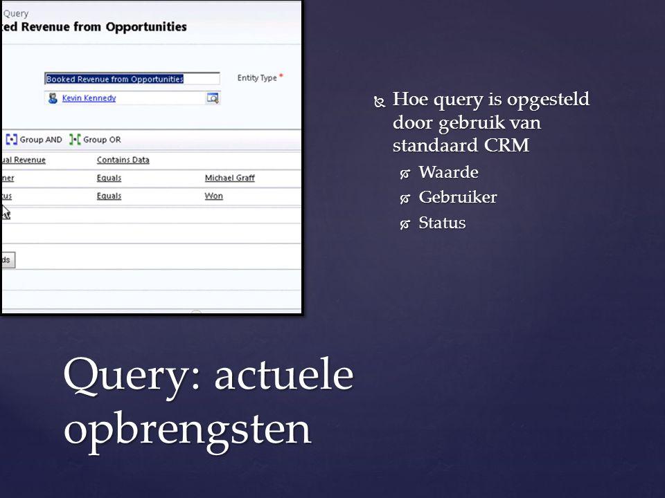 Query: actuele opbrengsten  Hoe query is opgesteld door gebruik van standaard CRM  Waarde  Gebruiker  Status