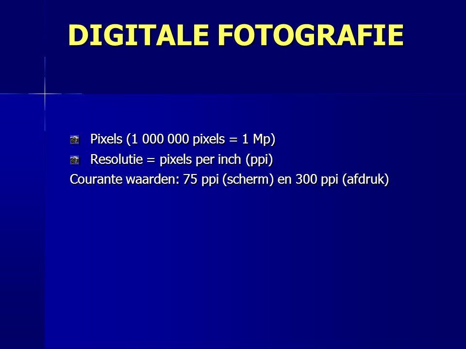 Pixels (1 000 000 pixels = 1 Mp) Resolutie = pixels per inch (ppi) Courante waarden: 75 ppi (scherm) en 300 ppi (afdruk) DIGITALE FOTOGRAFIE