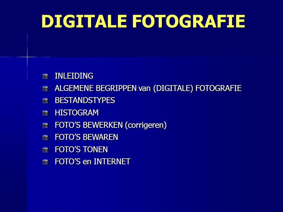 INLEIDING ALGEMENE BEGRIPPEN van (DIGITALE) FOTOGRAFIE BESTANDSTYPES HISTOGRAM FOTO'S BEWERKEN (corrigeren) FOTO'S BEWAREN FOTO'S TONEN FOTO'S en INTERNET DIGITALE FOTOGRAFIE