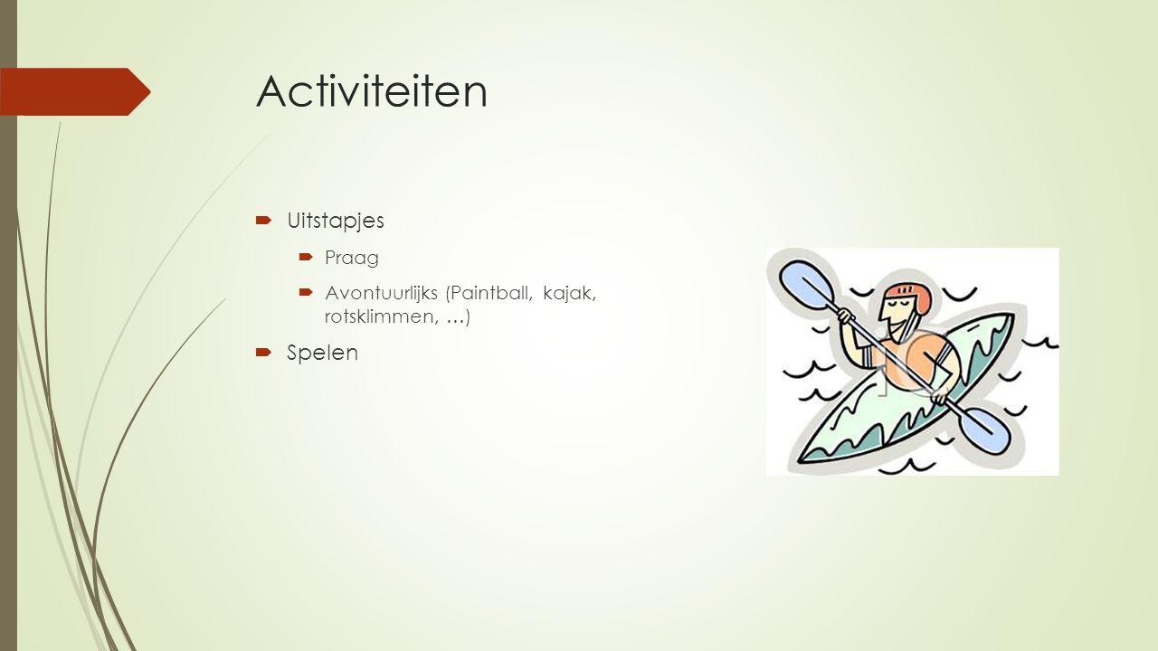 Activiteiten  Uitstapjes  Praag  Avontuurlijks (Paintball, kajak, rotsklimmen, …)  Spelen