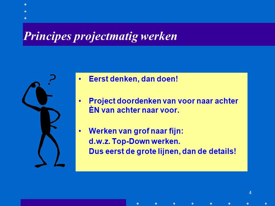 3 Wat is een project? Projecteigenschappen (Duidelijk) eenmalig doel Een project moet worden opgestart Een project heeft een opdrachtgever Meestal mul