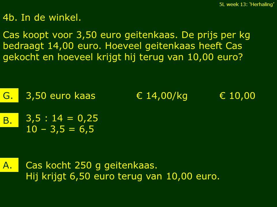 4b. In de winkel. Cas koopt voor 3,50 euro geitenkaas. De prijs per kg bedraagt 14,00 euro. Hoeveel geitenkaas heeft Cas gekocht en hoeveel krijgt hij