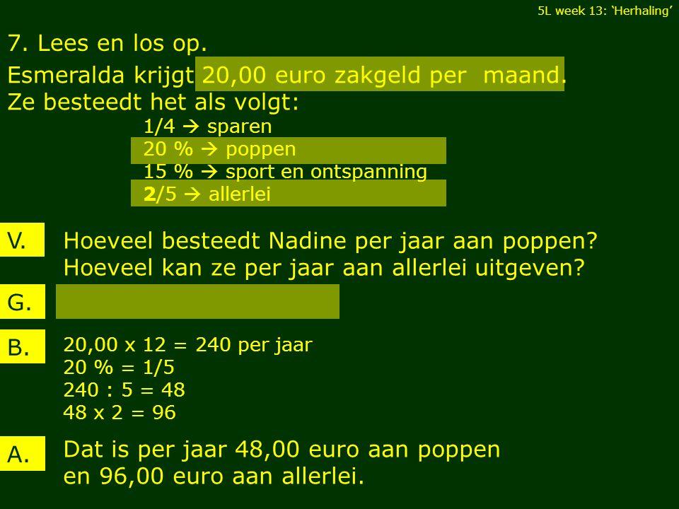7. Lees en los op. Esmeralda krijgt 20,00 euro zakgeld per maand. Ze besteedt het als volgt: 1/4  sparen 20 %  poppen 15 %  sport en ontspanning 2/